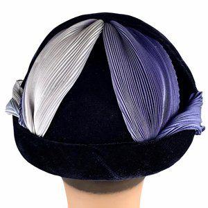 Vintage 40s Velvet Ombre Chiffon Calot Juliet Hat